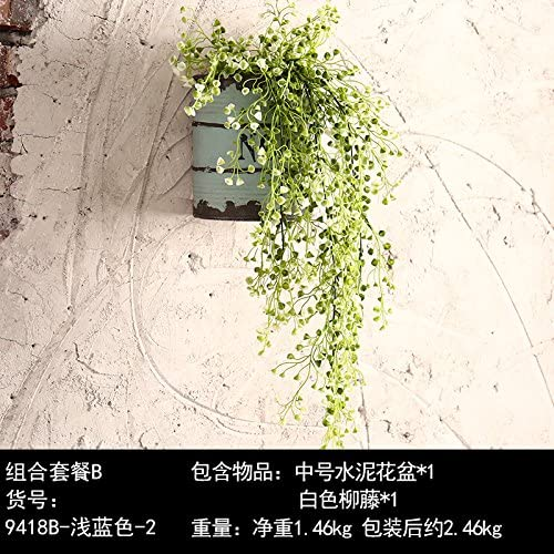 Un cadre idyllique de l'usine d'émulation des soucoupes sous les pots de fleurs rétro mur mur mur décorations , lumière douce du bassin bleu blanc Yoo rougein.