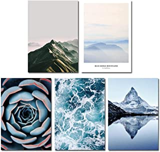 Holiday-Online-Store Mountain Succulent Plants Canvas Poster Wall Art Print Landscape Painting Nordic Style Picture Living Room Decor,15x20cm Unframed,5 pcs Set
