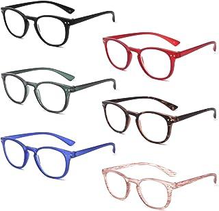 IVNUOYI 6 Pack Reading Glasses Blue Light Blocking , Vintage Matte Round Frame Computer Readers for Men Women,Anti Glare/U...