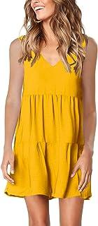 Amoretu Women Summer Tunic Dress V Neck Casual Loose...