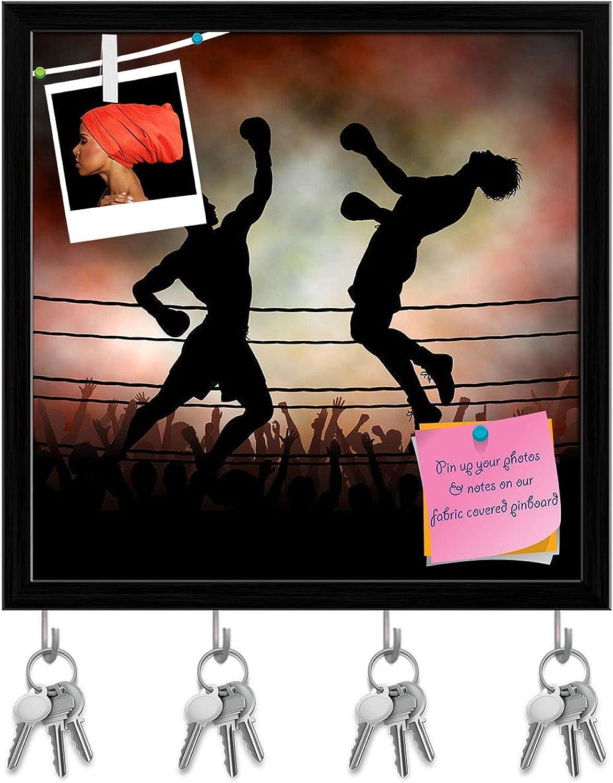 Artzfolio Boxers Key Holder Hooks   Notice Pin Board   Black Frame 20 X 20Inch