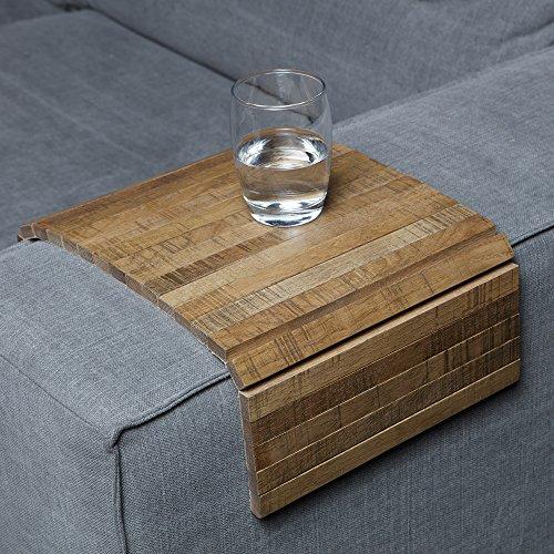 Sofatablett/Ablage Eiche Antik in Größe 44 x 24cm / Armlehnenschoner für Couch, Abstellplatz für Snacks und Getränke auf der Sofa Armlehne, Flexibel in der Breite