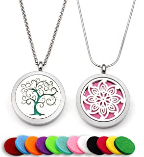 Two Lademayh Essential Oil Diffuser Necklaces Pendant Aromatherapy Jewelry(Tree of Life & Flower Design) with 2 Styles Chains & 12 Felt Pads