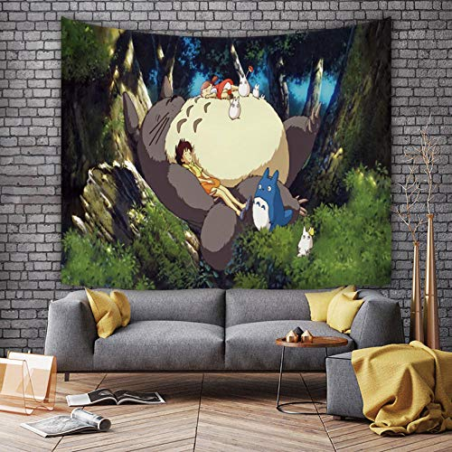MSHAQT Tonari No Totoro Colgante De Pared Anime Tapiz Sala De Estar Arte De Pared Colcha Toalla De Playa Regalo De Decoración Interior De Pared 150Cm * 130Cm