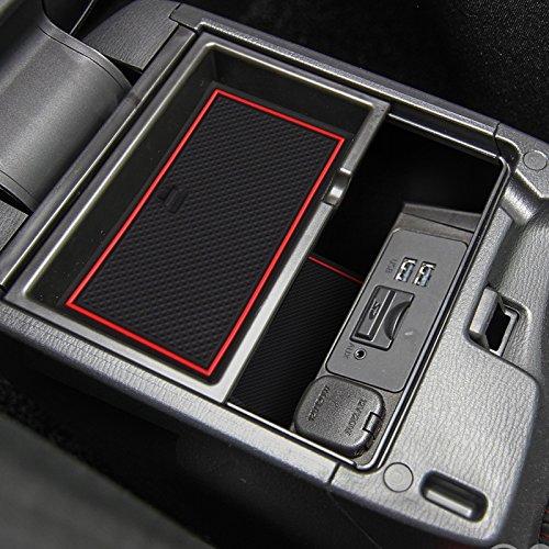 適用 マツダ Mazda3 BNアクセラ AXELA BM BY系 室内 内装 ドレスアップ アクセサリー カドアポケットマット コンソールマットフロアマットノンスリップ マット 赤/青/白蛍光 (赤)
