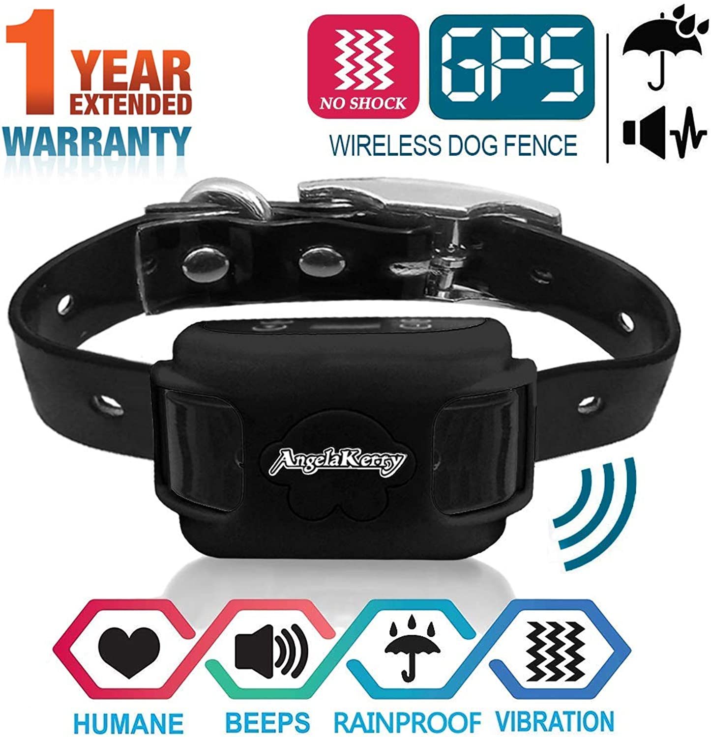 AngelaKerry Wireless Dog Fence System with GPS, NO Electric Shock, Outdoor Pet Containment System Rechargeable Waterproof Vibration Collar 850YD Remote for 15lbs120lbs Dogs