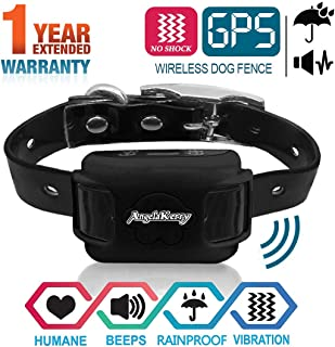 AngelaKerry Wireless Dog Fence System with GPS, NO Electric Shock, Outdoor Pet Containment System Rechargeable Waterproof Vibration Collar 850YD Remote for 15lbs-120lbs Dogs