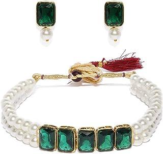 Zaveri Pearls Fashionable Pearls Choker Necklace Set For Women-ZPFK9092