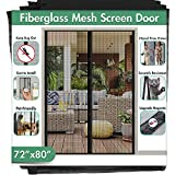Fiberglass Magnetic Screen Mesh for French Door [Upgraded Vesion 72'W 80'L] IKSTAR Double Instant Screen Door with Full Frame Magic Tape Curtain Mesh Mosquito Net Bug Out Fit Door Up to 70'x 79' Max