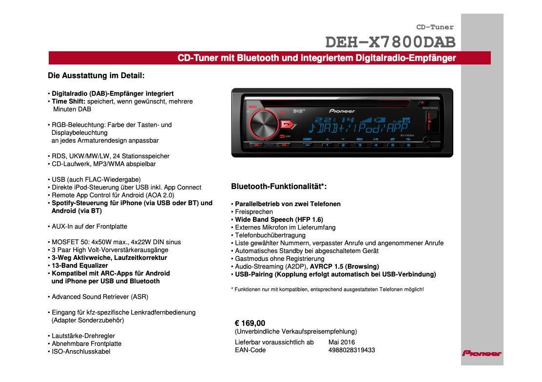 Pioneer Deh X7800dab 1din Autoradio Cd Tuner Mit Rds Fm Und Dab Dab Tuner Cd Bluetooth Mp3 Usb Aux Eingang Bluetooth Freisprecheinrichtung Kompatibel Mit Android Und Ipod Iphone Auto