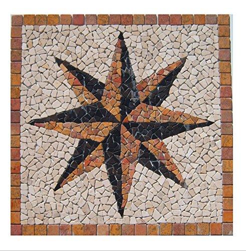 RO-006 90 x 90 cm Marmor Rosone mediterran Einleger Mosaikfliesen Bild Dekoration Stein-Mosaik Fliesen Lager Verkauf Herne NRW