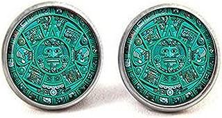 aztec calendar earrings
