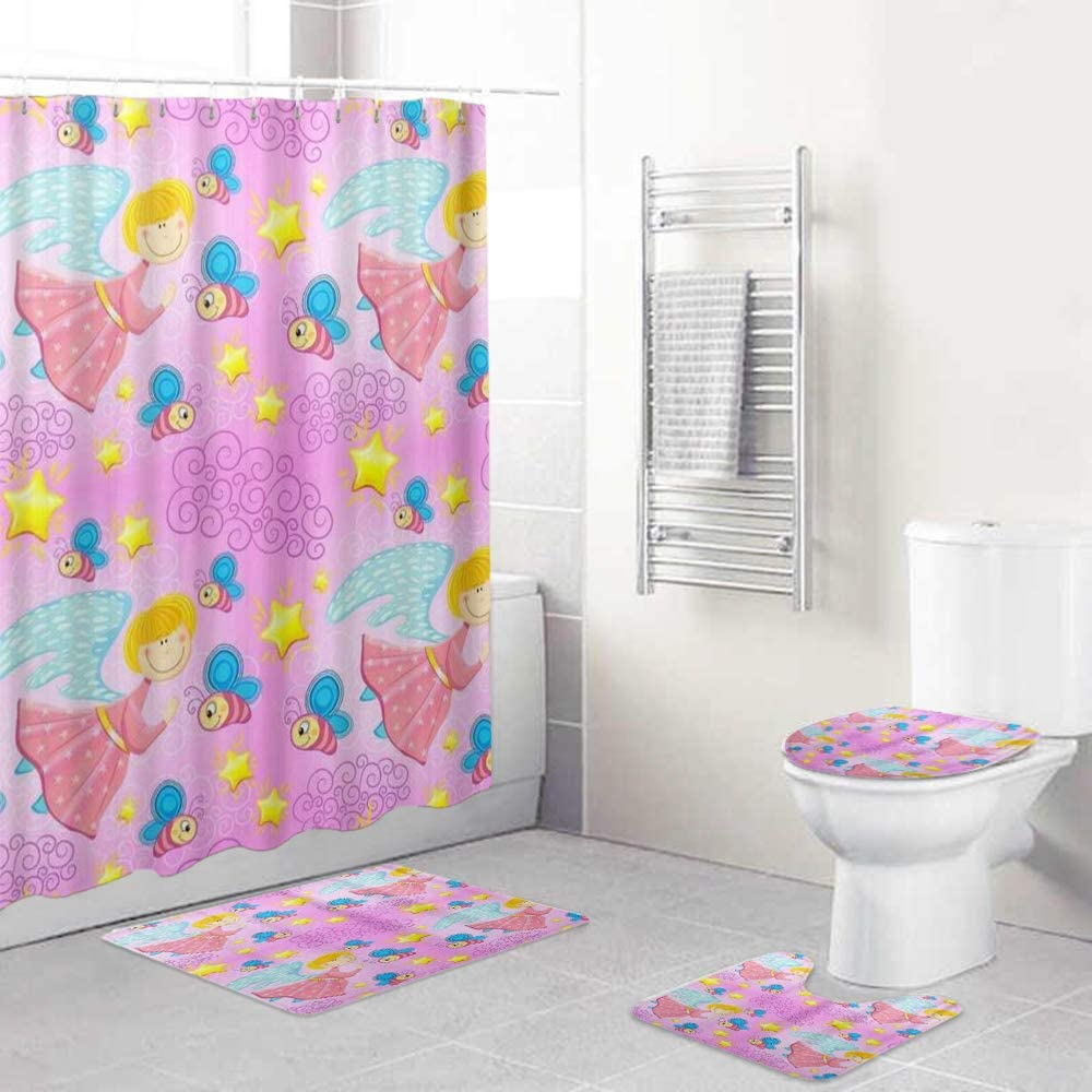 HASENCIV 4 Pcs Shower Curtain Sets Ru Waterproof with Non-Slip Large-scale sale 2021 autumn and winter new
