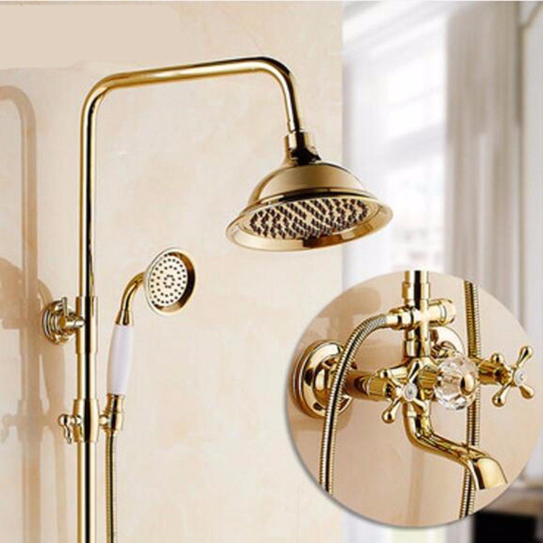Shower set European Style gold-Plated Shower Set New Copper Antique Shower Bright gold Retro Shower Shower,G