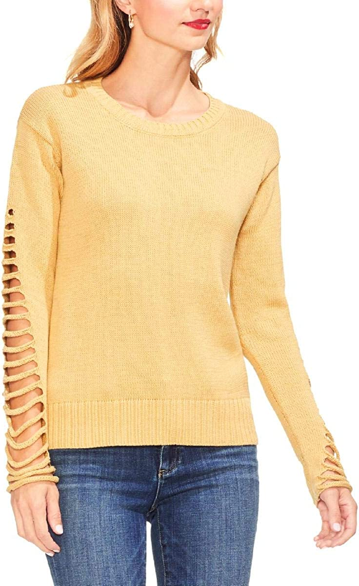 Vince Camuto Womens Lattice Sleeve Pullover Sweater