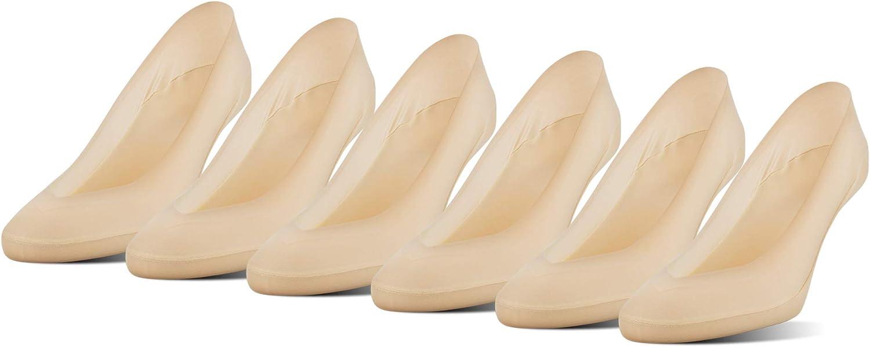 PEDS Women's V-Neck Super Low Cut No Show Socks, Nude (6 Pairs), Shoe Size: 5-10