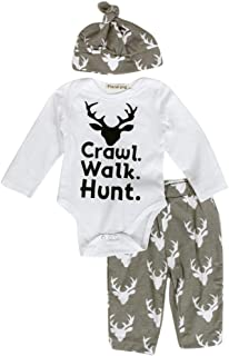 Fineser Cute Baby Boys Girls Crawl Walk Hunt Deer Print Romper Jumpsuit+Pants+Hat 3PC Outfits Set