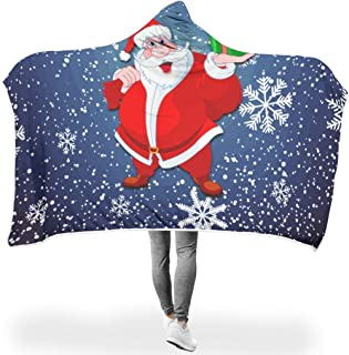 HAPPYCAT Art Santa Claus Christmas Ultra Plush Super Soft Soft Queen Size Blankets for Sofa Chair Bed Office Travelling Camping White 60x80 inch