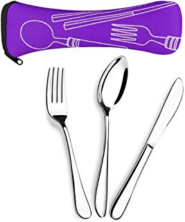 Aigemi 6 Piece Stainless Steel Flatware Set,Knife Fork Spoon Portable Travel Silverware Set with Carrying Case for Lunch Bag Traveling Camping