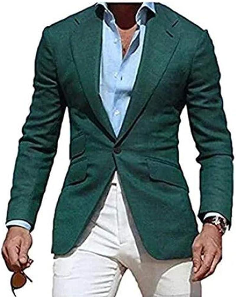 2 PCs Summer Beach Men Suit Slim Fit Casual(Jacket+Pants) Blazer Wedding Grooms Tuxedo