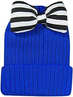 Goenn Kid Cap 幼児の赤ちゃんの女の子のストライプのちょう結び編み帽子の子供の暖かい帽子