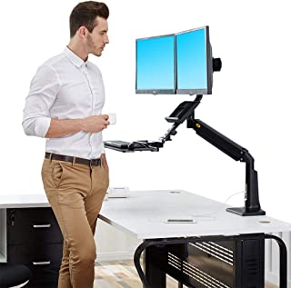 North Bayou Sit Stand Desk Converter Height Adjustable Standing Desk for 22''-27'' Monitor (Two Screens) Support Load from 13.2 to 26.4 lbs with Keyboard Tray(Black)