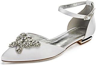 a744ba5348 Charmstep Zapatos de novia para mujer bailarinas con hebilla de satén plano  para fiesta 5047-