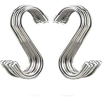 "Evob 20 Pack 3.4"" S Shaped Hooks Stainless Steel Metal Hangers Hanging Hooks for Kitchen, Work Shop, Bathroom, Garden"