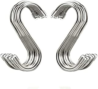 "Evob 20 Pack 3.4"" S Shaped Hooks Stainless Steel Metal Hangers Hanging Hooks for.."