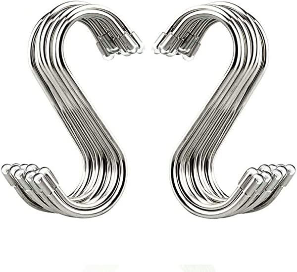 20 Pack S Shaped Hooks Stainless Steel Metal Hangers Hanging Hooks For Kitchen Work Shop Bathroom Garden