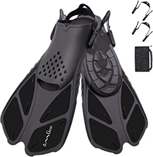 OMGear Swim Fins Snorkel Fins Snorkeling Gear Flippers for Swimming Short Diving Fins Travel Size with Mesh Bag Extra Fin ...