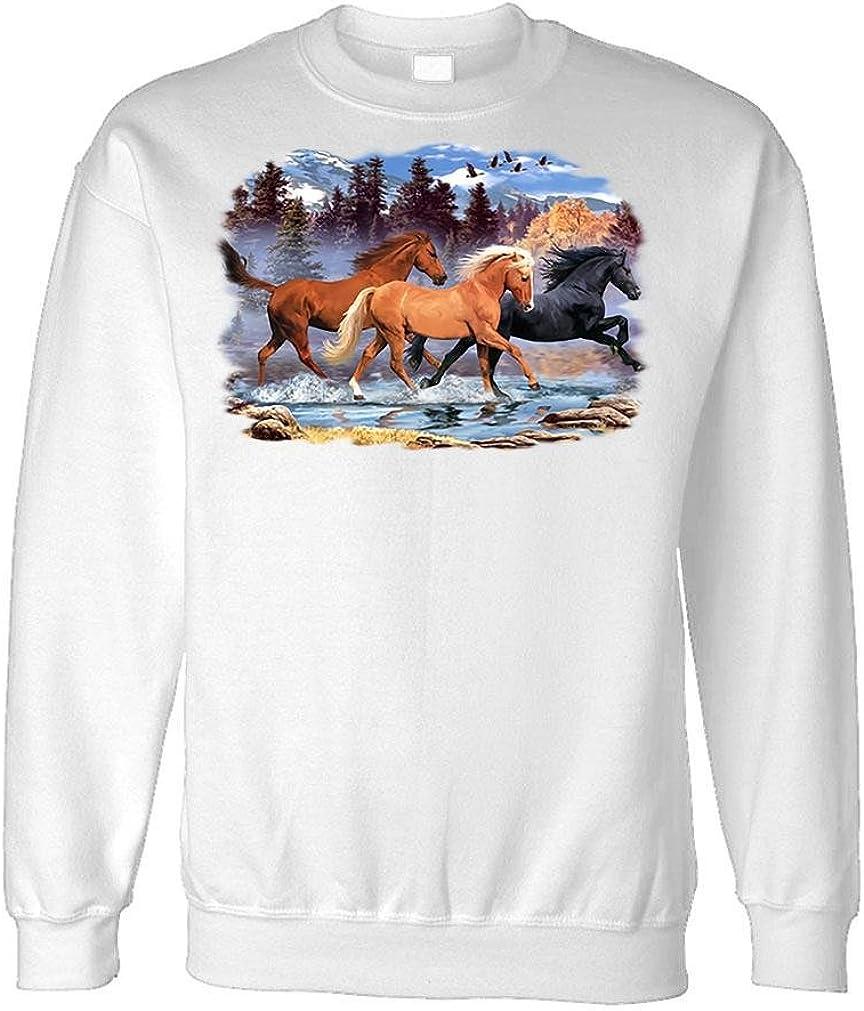 RUNNING FREE 2 - horses equine equestrian - Fleece Sweatshirt