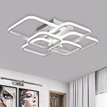 Jaycomey Modern LED Ceiling Light, 6 Squares Flush Mount Ceiling Lighting Fixtures, White Acrylic Ceiling Lamp 87W LED Cha...