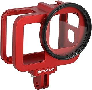 PULUZ Gehäuse aus Aluminiumlegierung für GoPro Hero 8, schwarz, CNC Schutzkäfig mit Versicherungsrahmen und 52 mm UV Objektiv (rot)