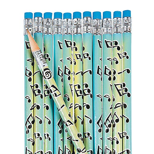 Fun Express Musical Notes Pencils (2Dz) - 24 Pieces - Educational and Learning Activities for Kids