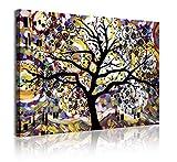 DekoArte 370 - Cuadros Modernos Impresión de Imagen Artística Digitalizada | Lienzo Decorativo Para Tu Salón o Dormitorio | Estilo Abstracto Árbol de la Vida de Gustav Klimt | 1 Pieza 120 x 80 cm