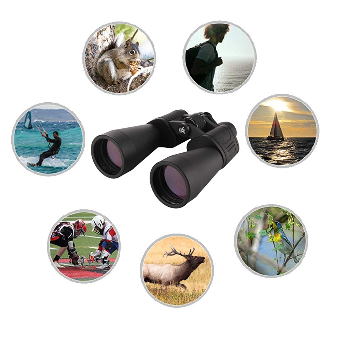 ZYG.GG Double-Tube Adjustable Telescope Folding Telescope Pocket Binocular Small Night Vision Binoculars Waterproof Hiking Hunting Sightseeing with Carrying Case