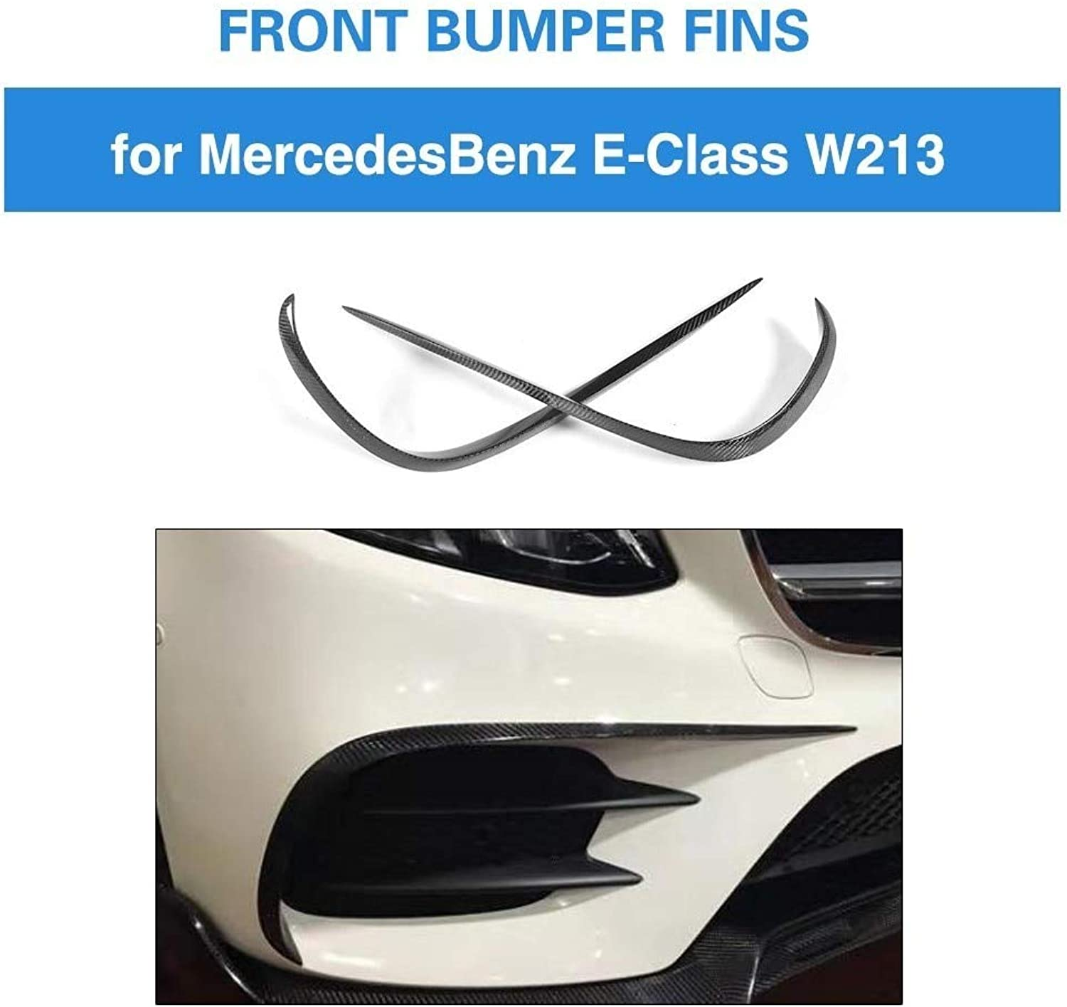 Front Fins for MercedesBenz EClass W213 E300 E400 E43 AMG Carbon Fiber Front Trims Cover 2pcs Set