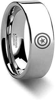 Captain America | Titanium Rings for Men | Lightweight Titanium | Comfort Fit | Star Shield Super Hero Polished Titanium Engraved Ring Jewelry - 8mm