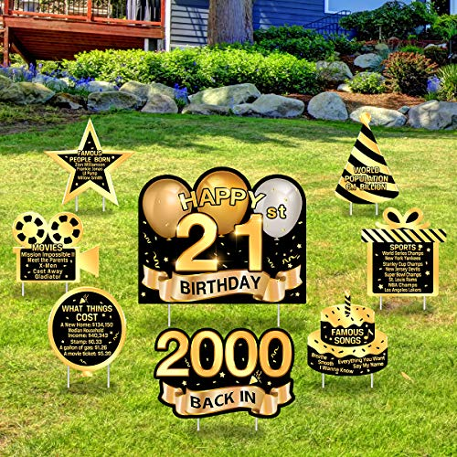Greatingreat Happy Adult 21st-2000 Birthday Yard Sign 21st Birthday Party Decorations Outdoor Lawn Sign Birthday Party Yard Sign - Set of 8 - Black Gold