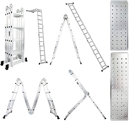 popular Luisladders Folding Ladder Multi-Purpose discount Aluminium Extension 7 new arrival in 1 Step Heavy Duty Combination EN 131 Standard (15.2 Feet) sale