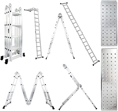 Luisladders 15.5 Feet Aluminum Multi-Purpose Extendable Ladder Folding Step Ladder Locking Hinges