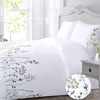 Flower Duvet Cover Set White King Country Embroidered Floral Botanical Flowered Garden Elegant Branches Quilt Cover Zip 104x90 Girls Blossom Pink Yellow Leaves Plant Cottage 3 Piece Bedding Set