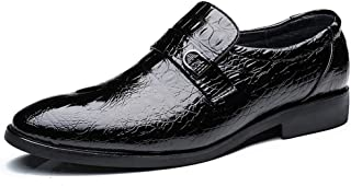 2019 Mens New Lace-up Flats Men's Formal Oxford Shoes, Slip On Style Microfiber Leather Crocodile Texture Metaldecor