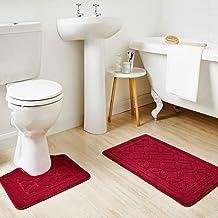 Homever 2 Pieces Bathroom Rug Set PP Bathmats Bath Rug Set Pattern (Burgundy)