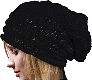 Black Slouch Beanie with Flower -Winter Hat