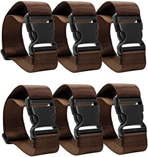 6 Pack Add a Bag Luggage Strap Adjustable Suitcase Belt Straps Accessories for Travel and Trip (Brown)