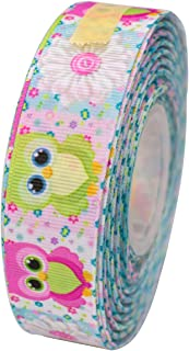 ATRibbons 25 Yards 1 Inch Wide Cute Owl Pattern Printed Grosgrain Ribbon for Hair Bows Headbands Crafting and Gift Wrapping
