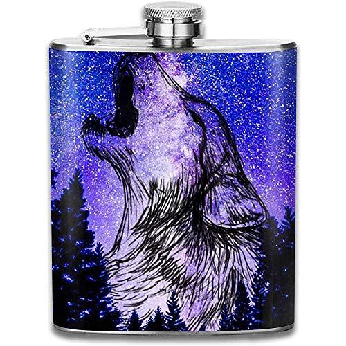 Ein Umriss eines Wolfes Heulende Edelstahlflasche Lustige Flasche Whisky Wodka Alkohol Hüftflasche für Männer Reisen Klettern Angeln Camping
