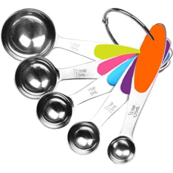 Fsdifly-Stainless Steel Measuring Spoons 5 Piece Stackable Set - Measuring Set for Cooking and Bakin (A)
